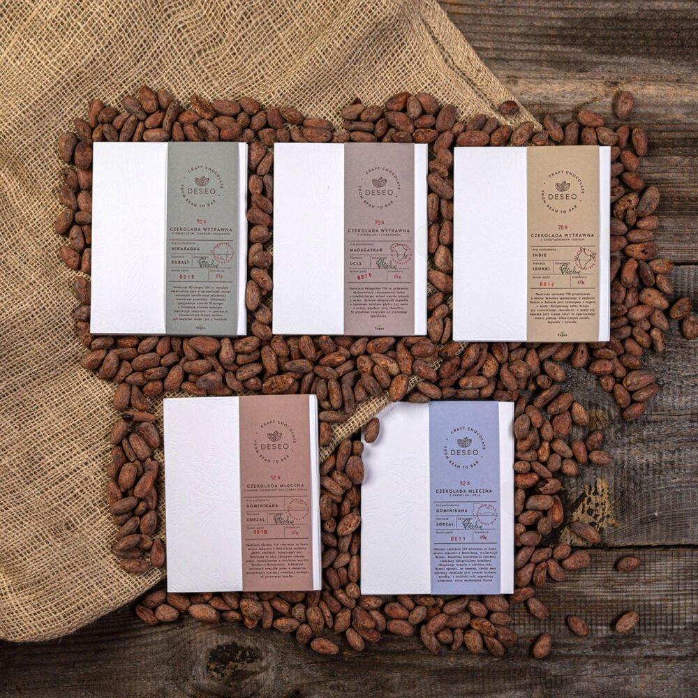 zestaw 5 czekolad z inkluzją