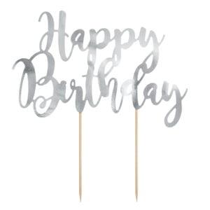 Topper na tort Happy Birthday – srebrny